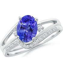 1.45ctw oval sapphire & simulated diamond wedding band ring 14k white gold fn