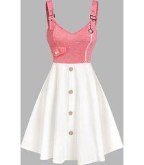 sleeveless buckle strap mock button contrast dress
