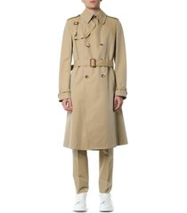 alexander mcqueen harness beige cotton coat