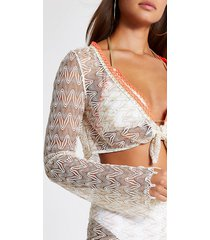 river island womens white zig-zag knit tie front beach crop top