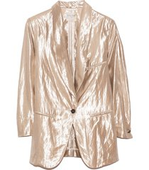 lurex linen viscose jacket in mother of pearl