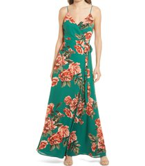lulus floral sleeveless wrap maxi dress, size x-small in dark green floral at nordstrom