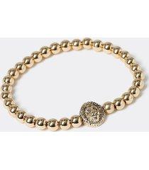 river island mens gold colour lion beaded bracelet