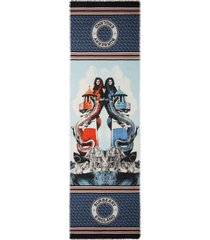 women's burberry mermaid print silk & wool scarf, size one size - blue