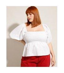 blusa de algodão plus size com lastex manga bufante decote reto mindset branca