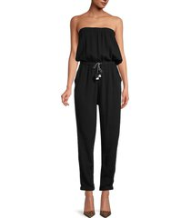 heroes & dreamers women's textured strapless jumpsuit - black - size m