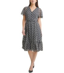 calvin klein floral-print chiffon belted midi dress