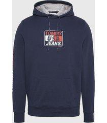polerón tommy jeans tjm essential graphic hoodie azul - calce regular