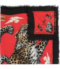 alexander mcqueen leopard motif silk shawl - red