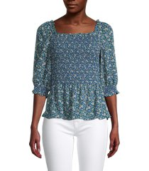 max studio women's floral-print smocked top - blue multicolor - size s