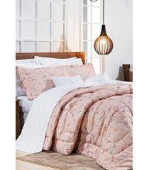 edredom bernadete queen borboletas algodão percal 200 fios sicília 3 peças - rosa