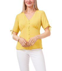 women's vince camuto front button blouse, size medium - yellow