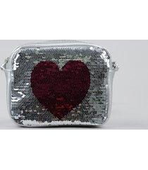 bolsa infantil metalizada com paetê dupla face coração prateada