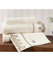 jogo de toalhas (banho e rosto) gigante coleção amêndoa bege e dourado algodão 200 fios com 5 peças - bernadete casa,