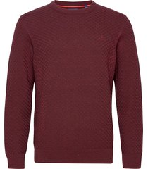 d1. cotton texture crew stickad tröja m. rund krage röd gant