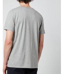 maison kitsuné men's fox head patch classic t-shirt - grey melange - xl