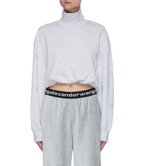 funnel neck logo embroidered cropped sweater