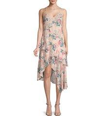 floral-print v-neck midi dress