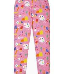 oilily roze jersey legging met kleurrijke artist print-
