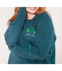 ori women's plus size embroidered french terry sweatshirt