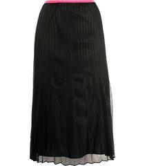 helmut lang pleated pull-on skirt - black