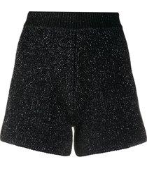 alanui glittered knit shorts - black
