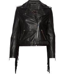 biker jacket w/fringes leren jack leren jas zwart depeche