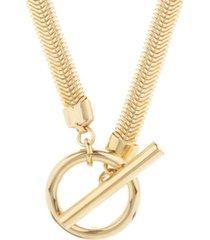 brook & york 14k gold plated izzy herringbone toggle necklace
