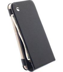 funda krusell para samsunggalaxy s6 / galaxy s6 edge -kalmar wallet case -negro - cuero genuino
