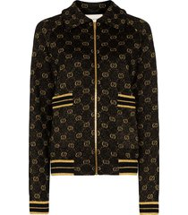 gucci gg pattern zip-up cardigan - black
