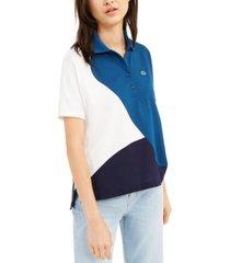 lacoste short-sleeve colorblocked polo shirt