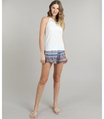 pijama feminino canelado com renda arabescos regata off white