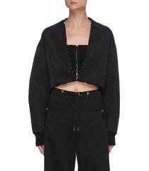 crop rib knit layer bomber jacket