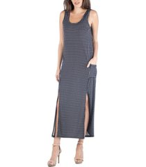 24seven comfort apparel polka dot sleeveless slip maxi dress with side slits and pockets