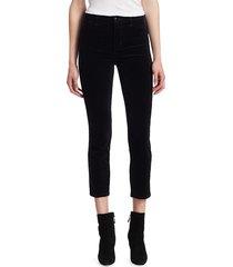 j brand women's ruby high-rise velvet cigarette pants - black - size 25 (2)