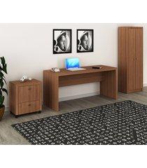 conjunto de escritório com mesa, armário alto e gaveteiro 03 amêndoa dallas - tricae