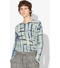 proenza schouler tie dye long sleeve t-shirt lime/cobalt/white xs