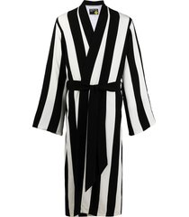 duoltd vertical-stripe belted wool robe - black