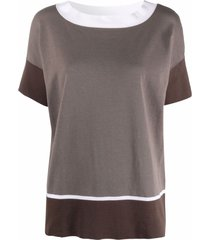 snobby sheep colour-block shortsleeved top - grey