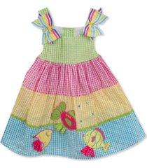 rare editions baby girls tiered rainbow gingham seersucker dress