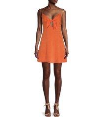 alice + olivia women's checked tie-front dress - orange - size 8