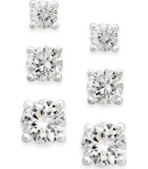 charter club cubic zirconia extra-small stud earring set (1-3/4 ct. t.w.)