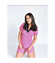 pijama adulto feminino liganete curto short doll rosa poá preto