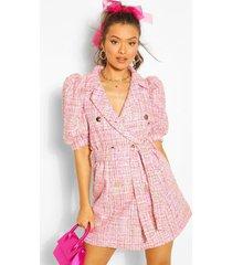 boucle tailored puff sleeve blazer dress