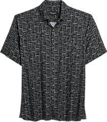 pronto uomo black horizontal hash short sleeve classic fit sport shirt