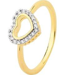 anel coração vazado cravejado cristais banhado a ouro 18k