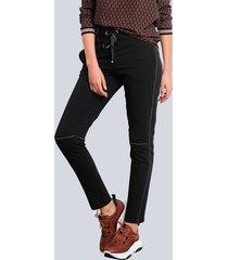 broek alba moda zwart::zilverkleur