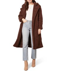 women's bb dakota teddy faux fur longline coat, size small - brown
