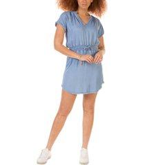 black tape petite short-sleeve frayed-hem dress
