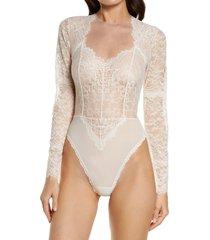 women's monique lhuillier x hanky panky gallon lace bodysuit, size medium - pink